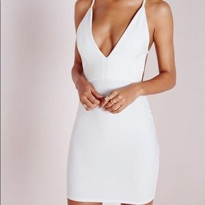 Missguided Crepe Extreme Plunge Strappy Bodycon